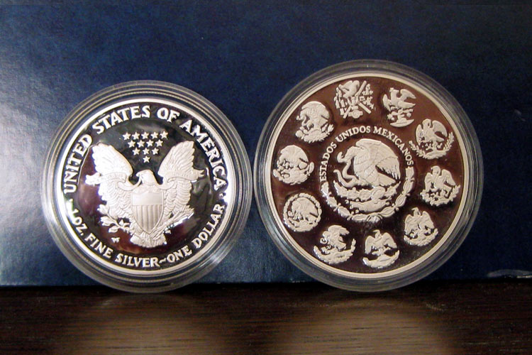Amercian Eagle and Mexican Libertad silver coins